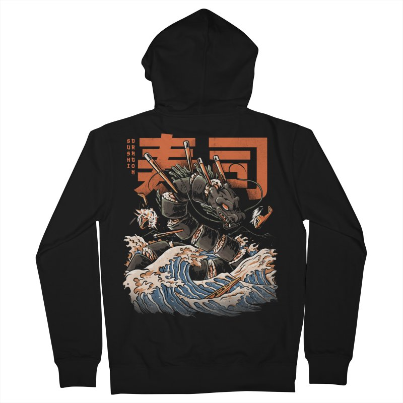 The Black Sushi Dragon Women's French Terry Zip-Up Hoody by ilustrata