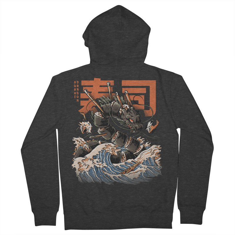 The Black Sushi Dragon Men's French Terry Zip-Up Hoody by ilustrata