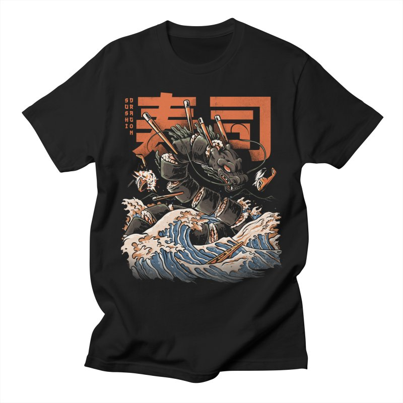 The Black Sushi Dragon Men's Regular T-Shirt by ilustrata