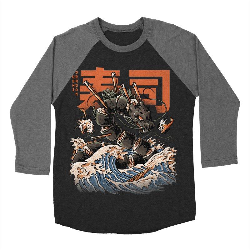 The Black Sushi Dragon Men's Baseball Triblend Longsleeve T-Shirt by ilustrata