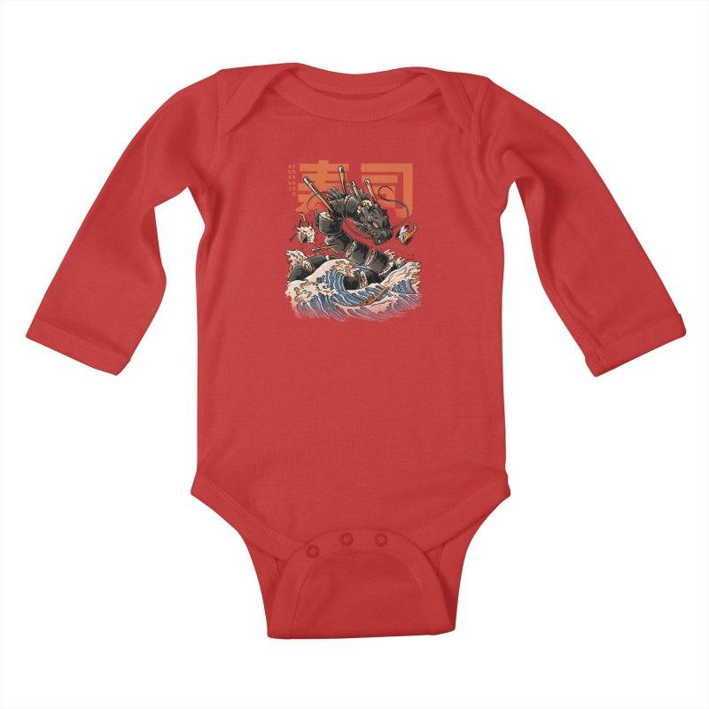 The Black Sushi Dragon Kids Baby Longsleeve Bodysuit by ilustrata