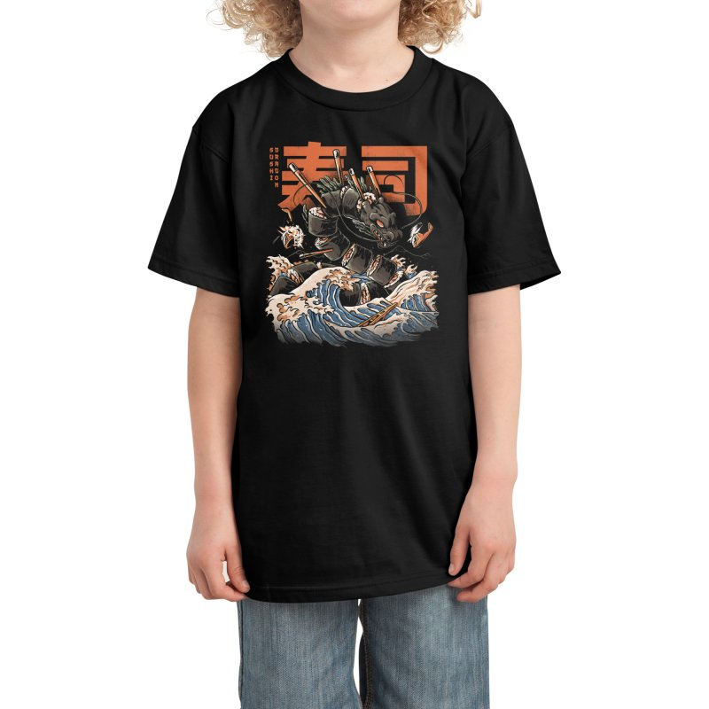The Black Sushi Dragon Kids T-Shirt by ilustrata