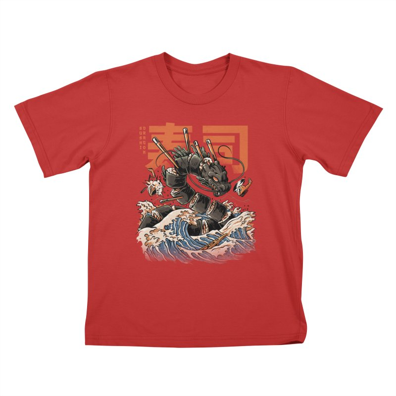 The Black Sushi Dragon Kids T-Shirt by ilustrata