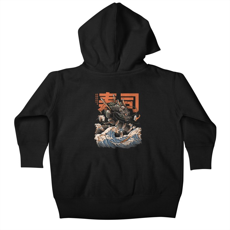 The Black Sushi Dragon Kids Baby Zip-Up Hoody by ilustrata