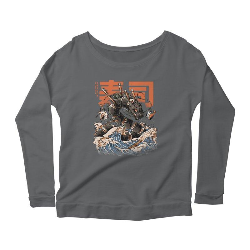 The Black Sushi Dragon Women's Scoop Neck Longsleeve T-Shirt by ilustrata