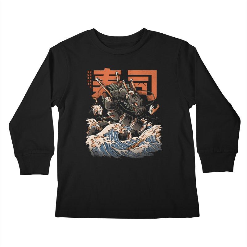 The Black Sushi Dragon Kids Longsleeve T-Shirt by ilustrata