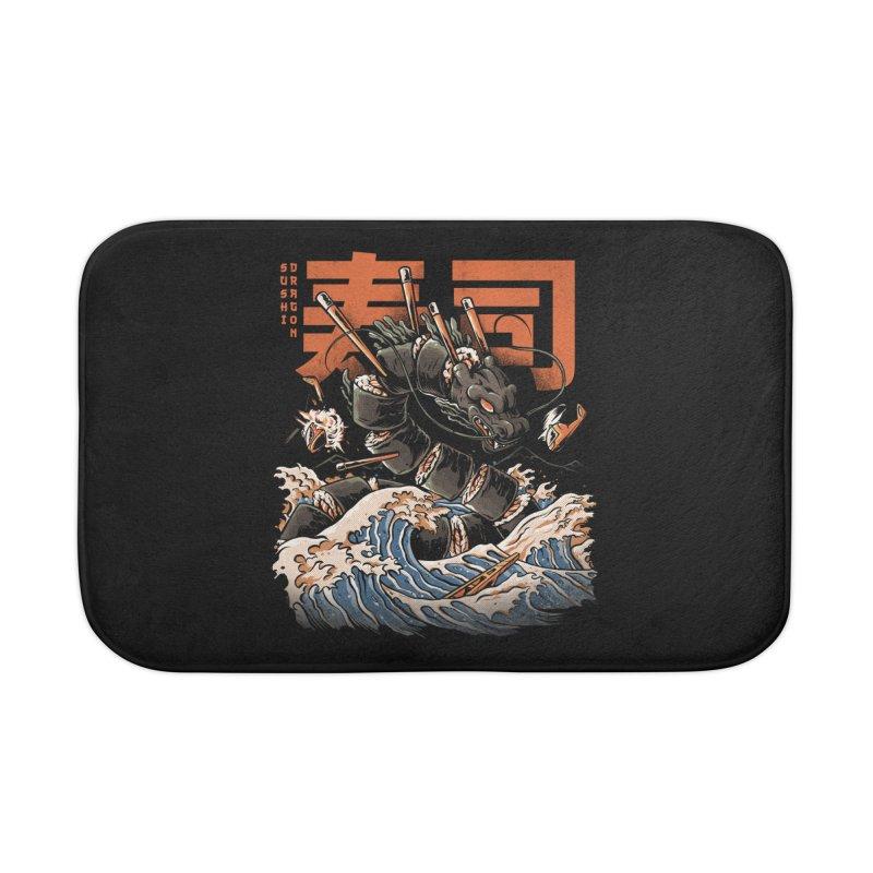 The Black Sushi Dragon Home Bath Mat by ilustrata