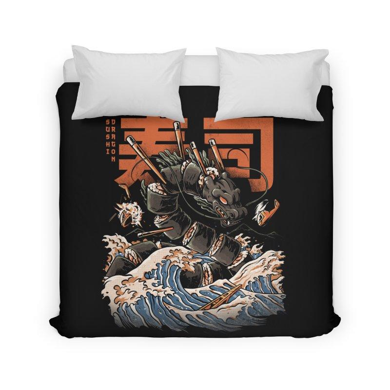 The Black Sushi Dragon Home Duvet by ilustrata