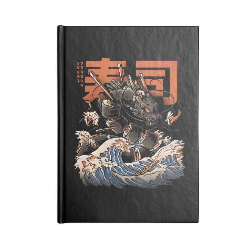 The Black Sushi Dragon Accessories Lined Journal Notebook by ilustrata