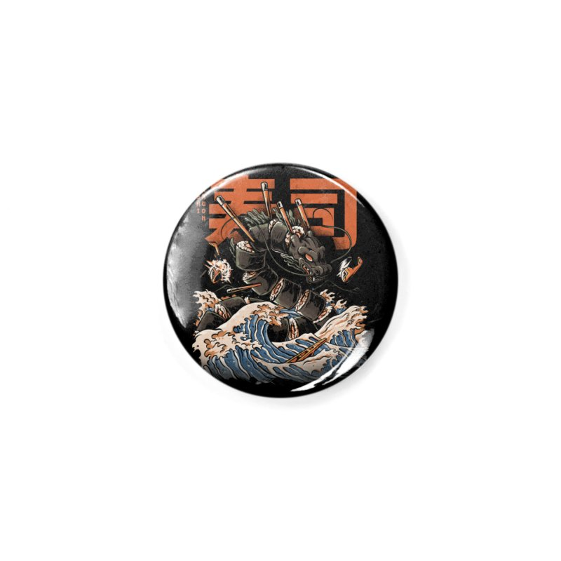 The Black Sushi Dragon Accessories Button by ilustrata