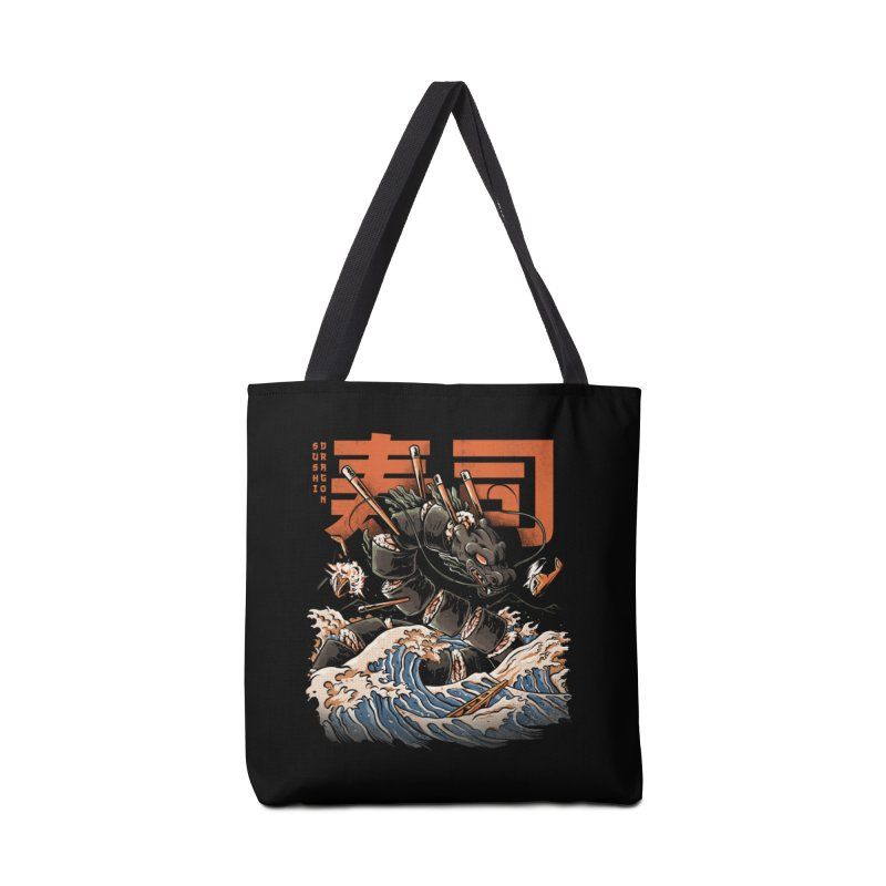 The Black Sushi Dragon Accessories Tote Bag Bag by ilustrata