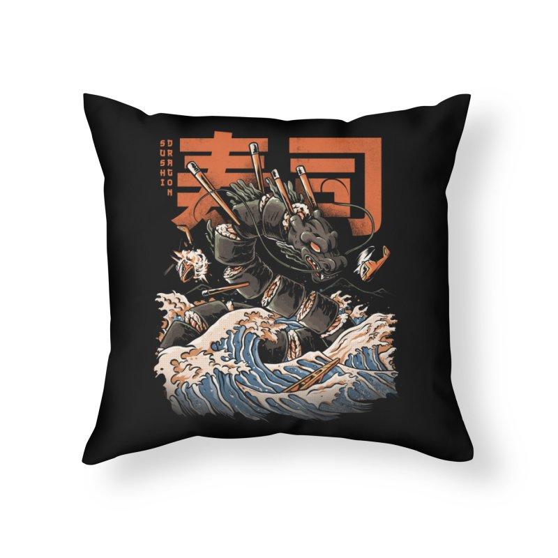 The Black Sushi Dragon Home Throw Pillow by ilustrata
