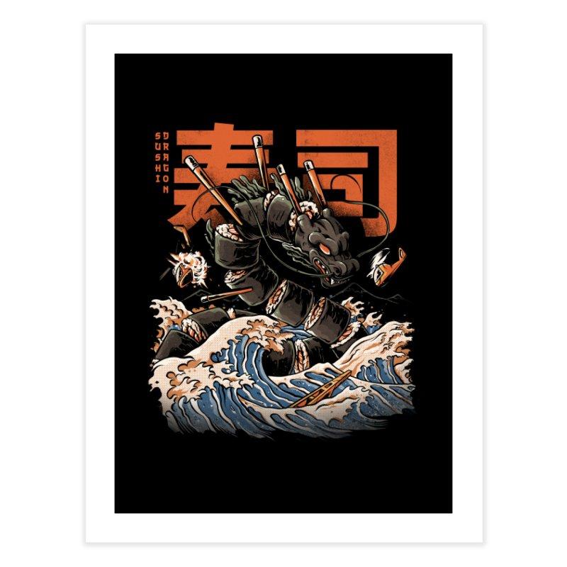 The Black Sushi Dragon Home Fine Art Print by ilustrata