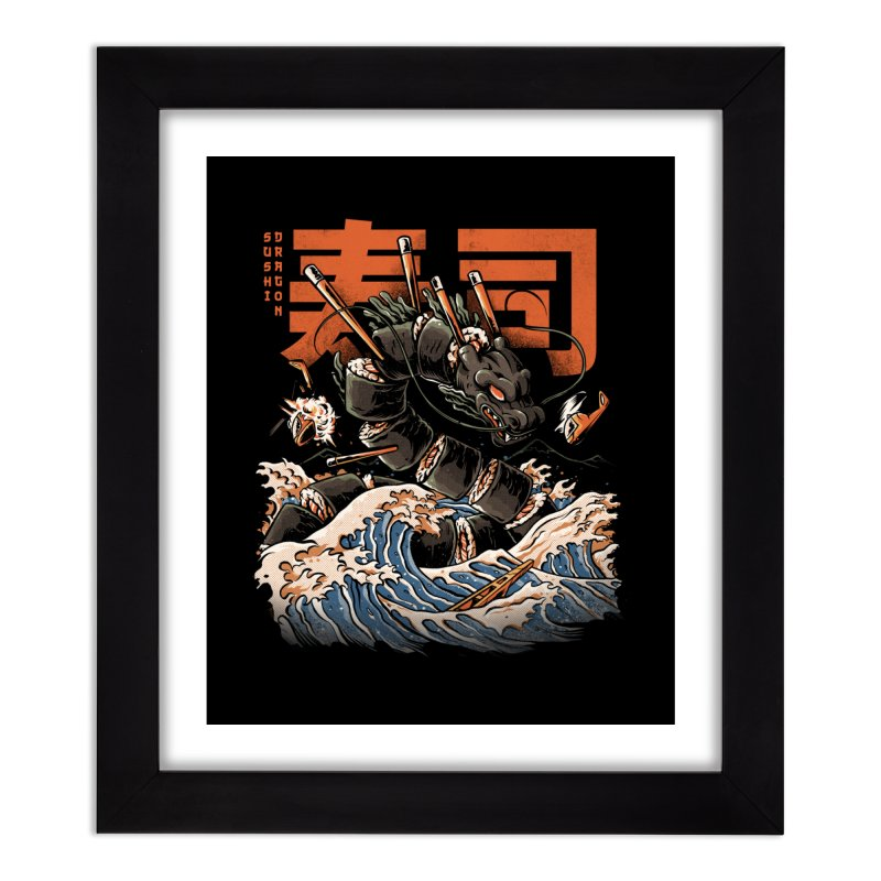 The Black Sushi Dragon Home Framed Fine Art Print by ilustrata