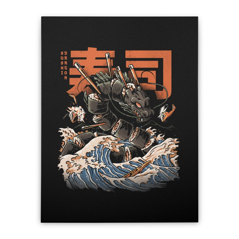 The Black Sushi Dragon Home Stretched Canvas by ilustrata