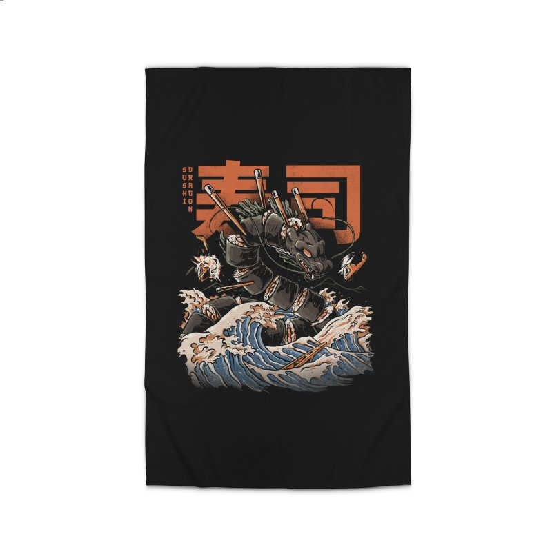 The Black Sushi Dragon Home Rug by ilustrata