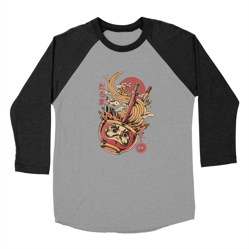 Daruma's Ramen Men's Baseball Triblend Longsleeve T-Shirt by ilustrata