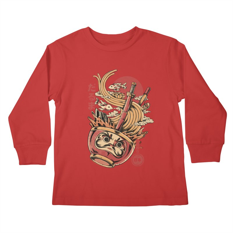 Daruma's Ramen Kids Longsleeve T-Shirt by ilustrata