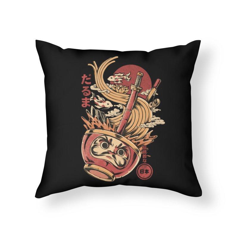 Daruma's Ramen Home Throw Pillow by ilustrata