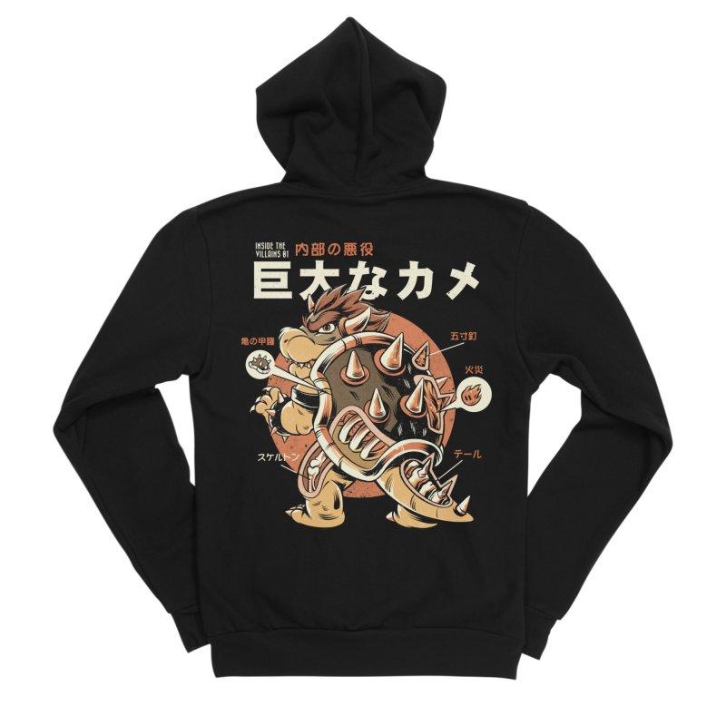 Black Bowserzilla Men's Sponge Fleece Zip-Up Hoody by ilustrata