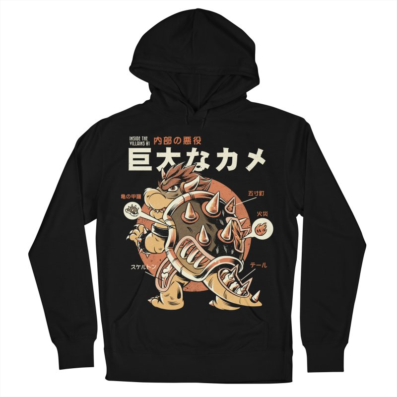 Black Bowserzilla Men's French Terry Pullover Hoody by ilustrata