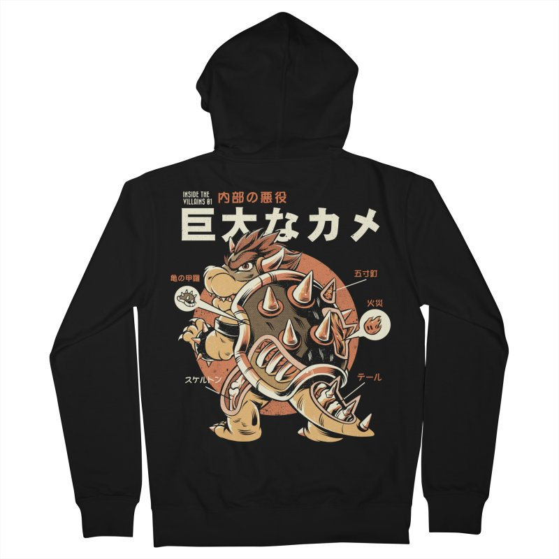 Black Bowserzilla Men's French Terry Zip-Up Hoody by ilustrata