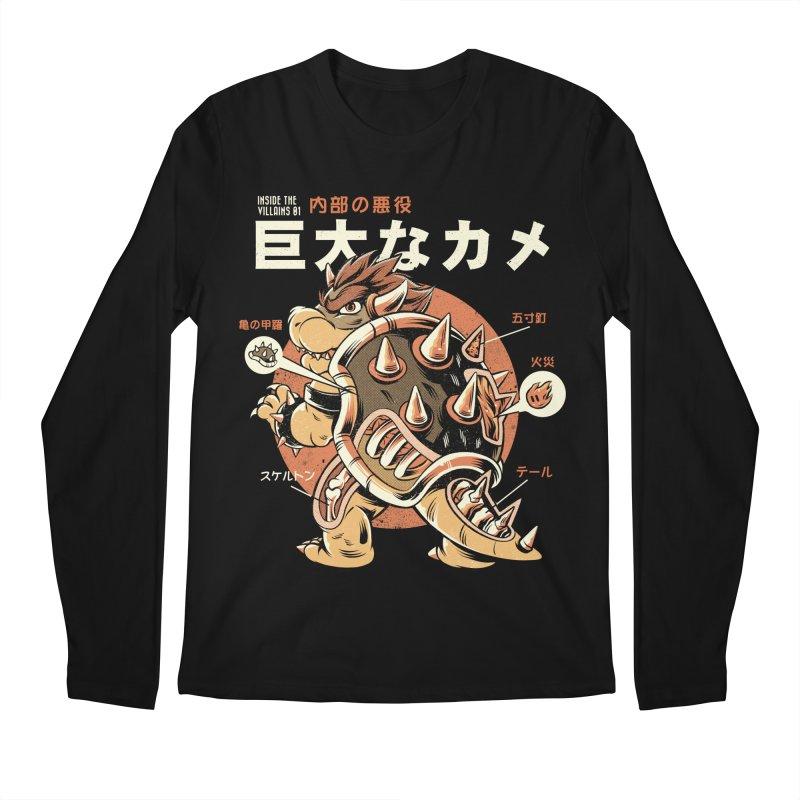 Black Bowserzilla Men's Regular Longsleeve T-Shirt by ilustrata