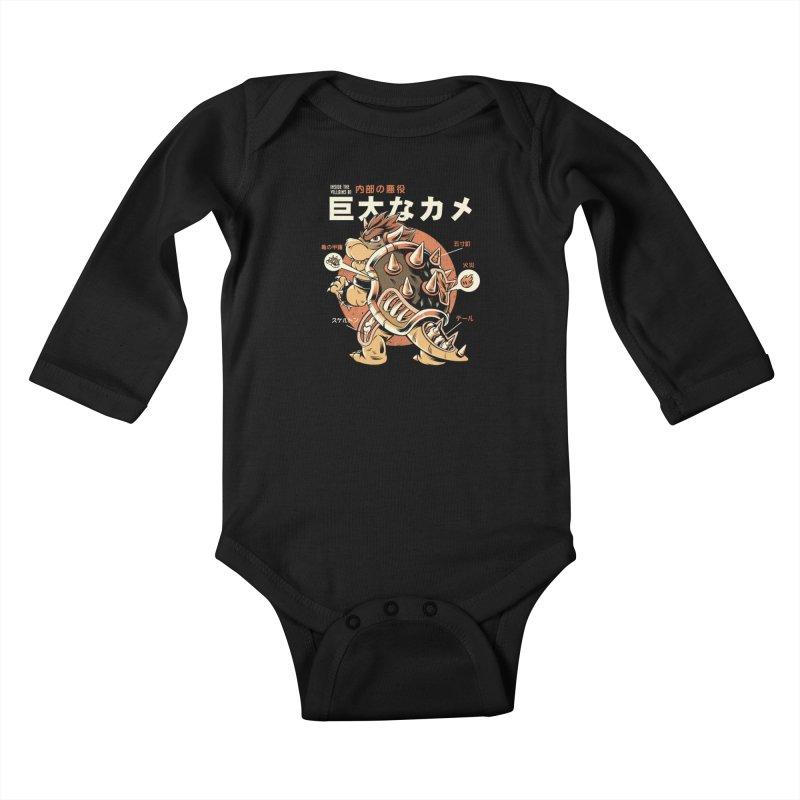 Black Bowserzilla Kids Baby Longsleeve Bodysuit by ilustrata