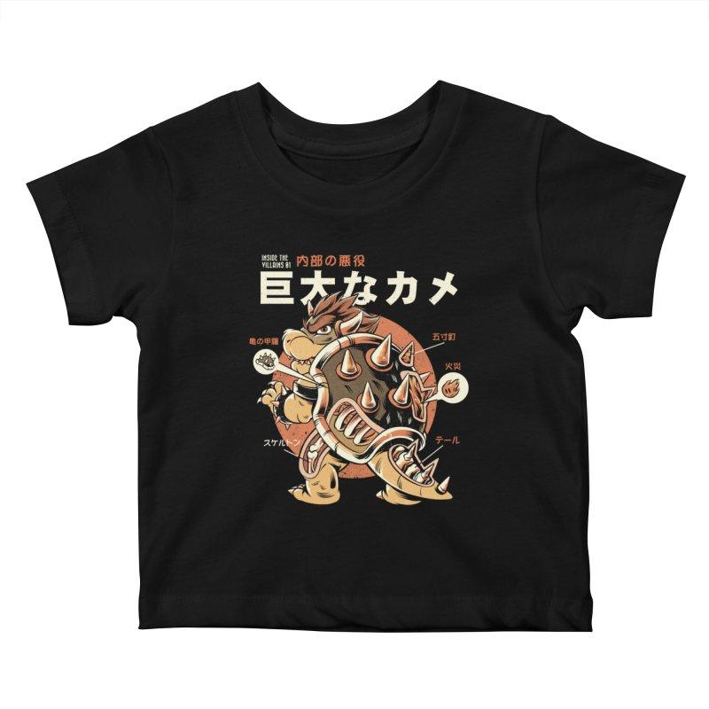 Black Bowserzilla Kids Baby T-Shirt by ilustrata