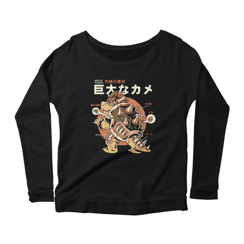 Black Bowserzilla Women's Scoop Neck Longsleeve T-Shirt by ilustrata