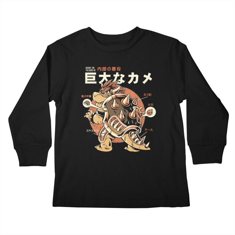 Black Bowserzilla Kids Longsleeve T-Shirt by ilustrata