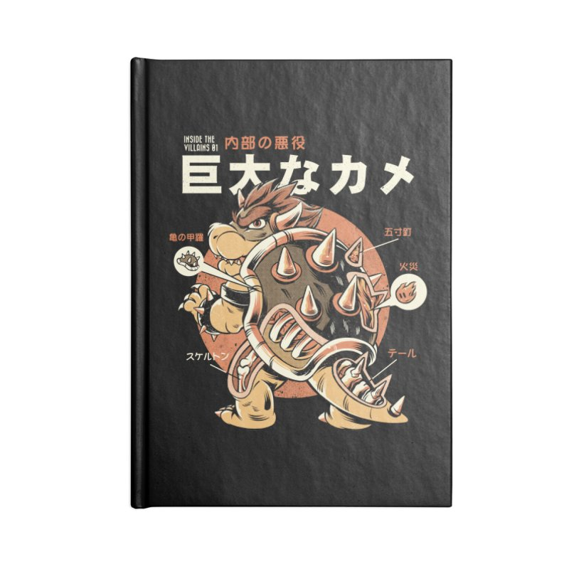 Black Bowserzilla Accessories Lined Journal Notebook by ilustrata