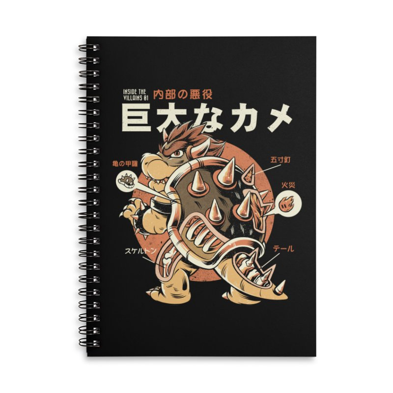 Black Bowserzilla Accessories Lined Spiral Notebook by ilustrata