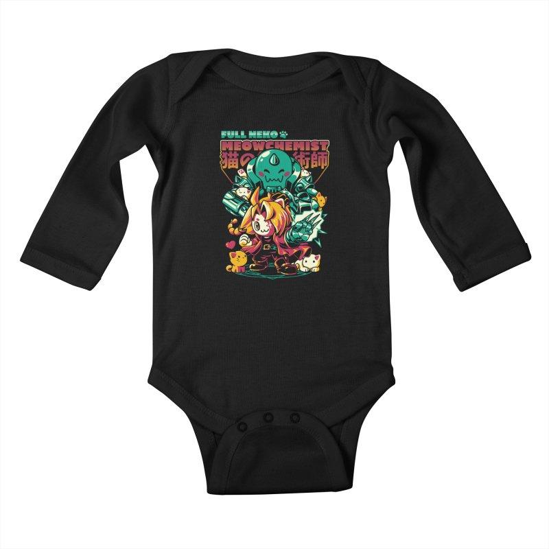 Full Neko Meowchemist Kids Baby Longsleeve Bodysuit by ilustrata