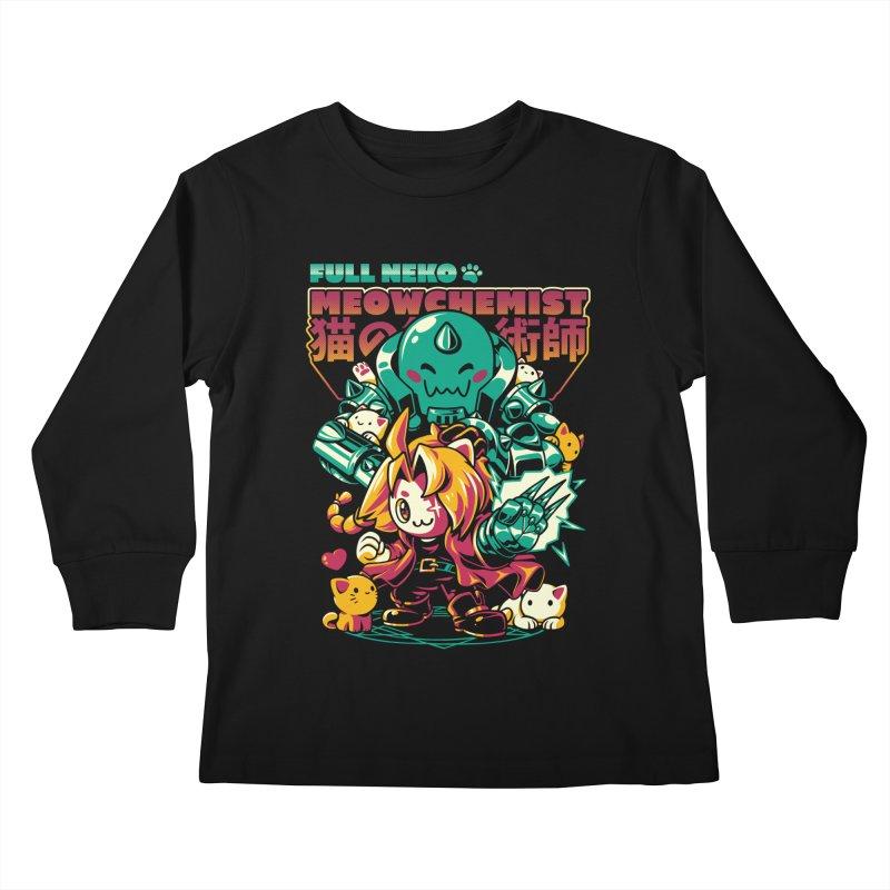 Full Neko Meowchemist Kids Longsleeve T-Shirt by ilustrata