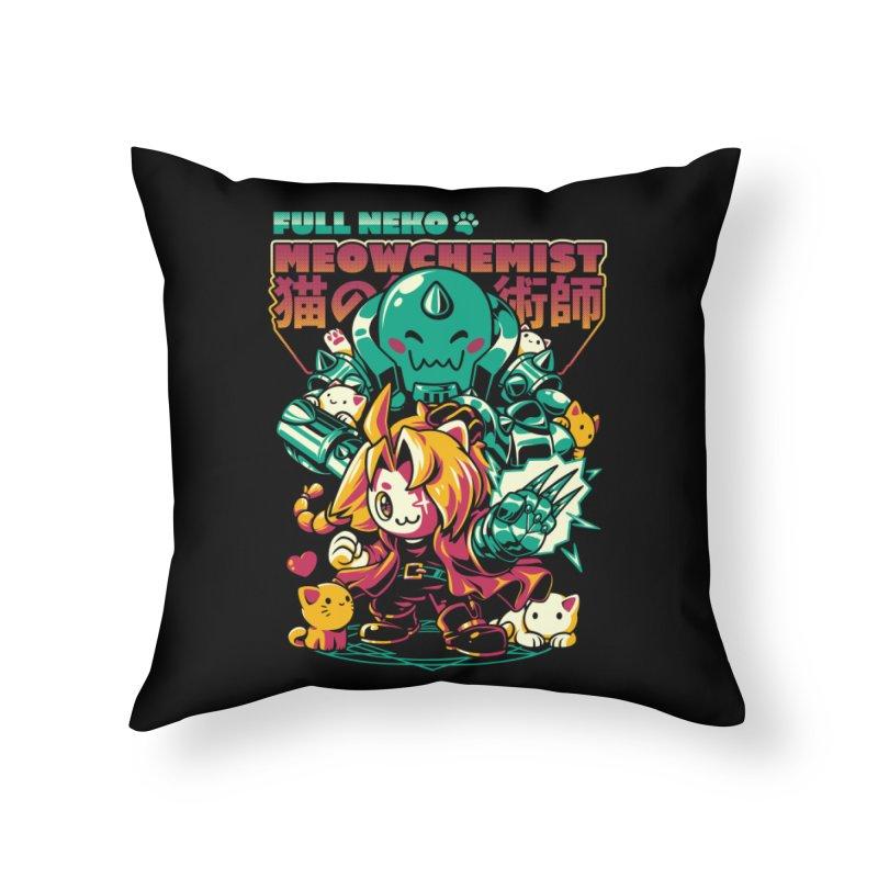 Full Neko Meowchemist Home Throw Pillow by ilustrata