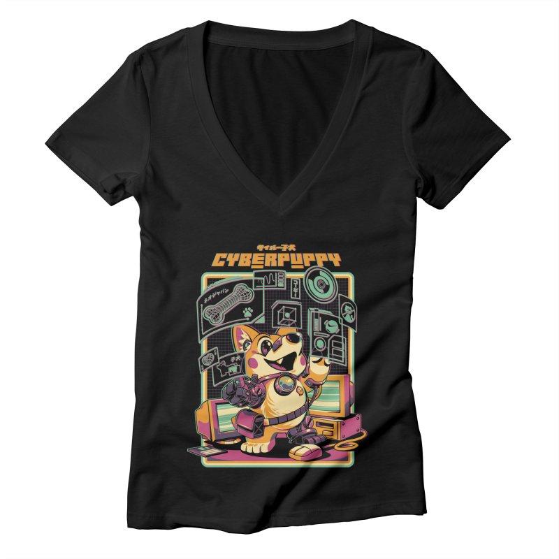 Cyberpuppy Women's Deep V-Neck V-Neck by ilustrata
