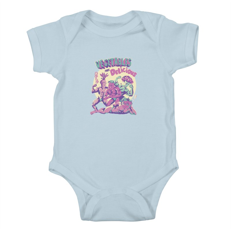 Vegetables are Delicious Kids Baby Bodysuit by ilustrata