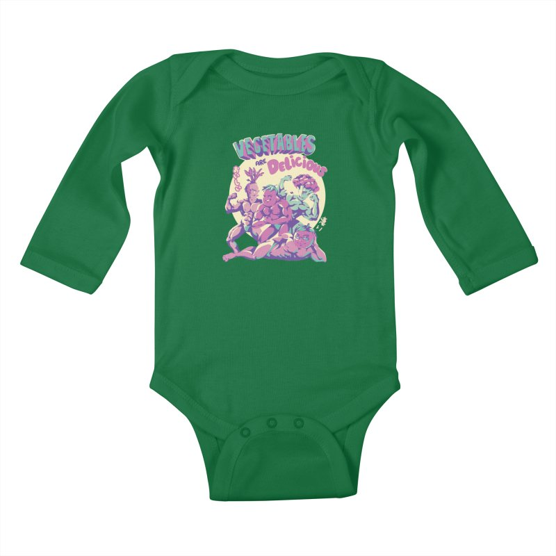 Vegetables are Delicious Kids Baby Longsleeve Bodysuit by ilustrata