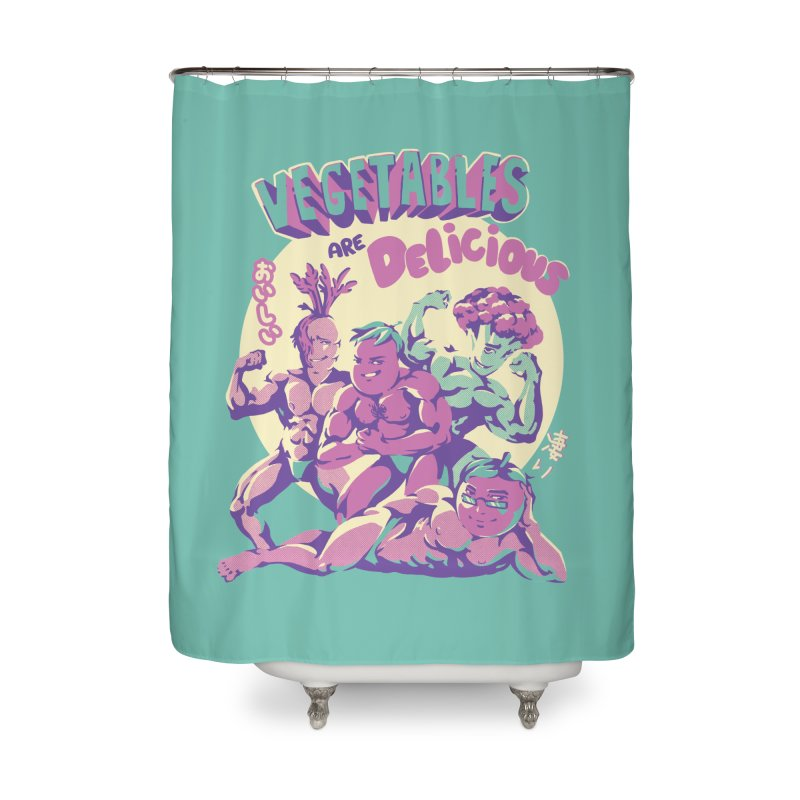 Vegetables are Delicious Home Shower Curtain by ilustrata
