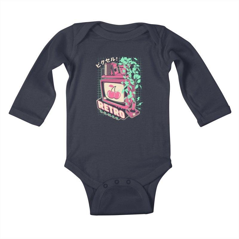 Retro Gamer Kids Baby Longsleeve Bodysuit by ilustrata