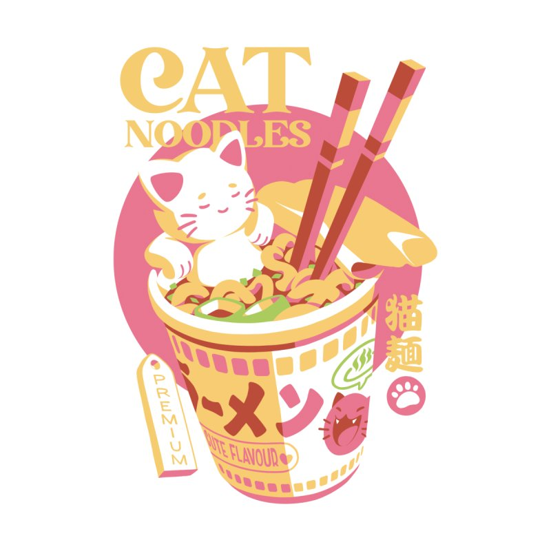 Cat Noodles Men's T-Shirt by ilustrata