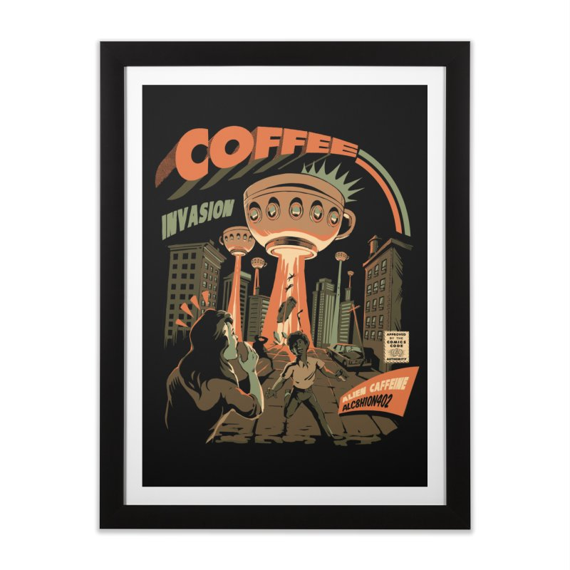 Coffee Invasion Home Framed Fine Art Print by ilustrata