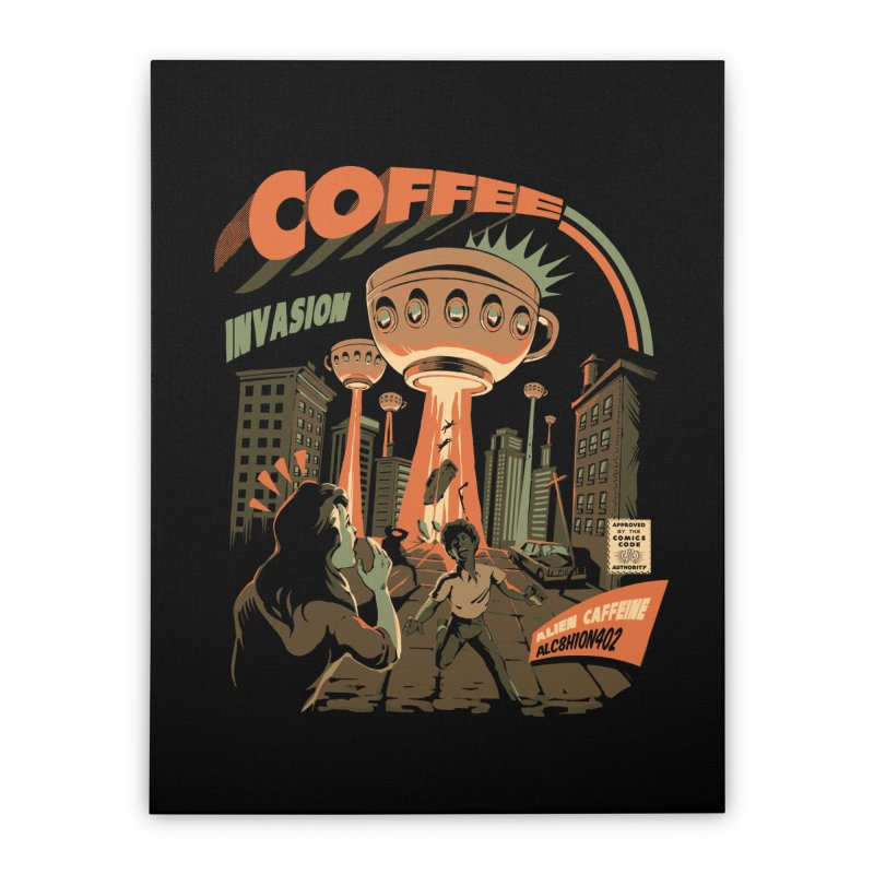 Coffee Invasion Home Stretched Canvas by ilustrata
