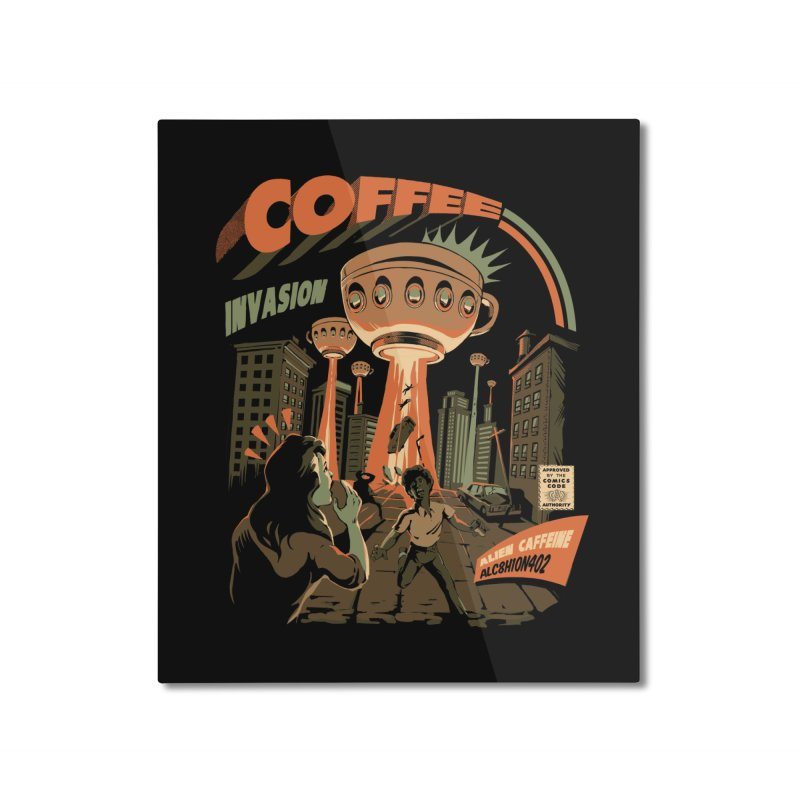 Coffee Invasion Home Mounted Aluminum Print by ilustrata