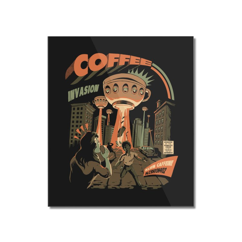 Coffee Invasion Home Mounted Acrylic Print by ilustrata