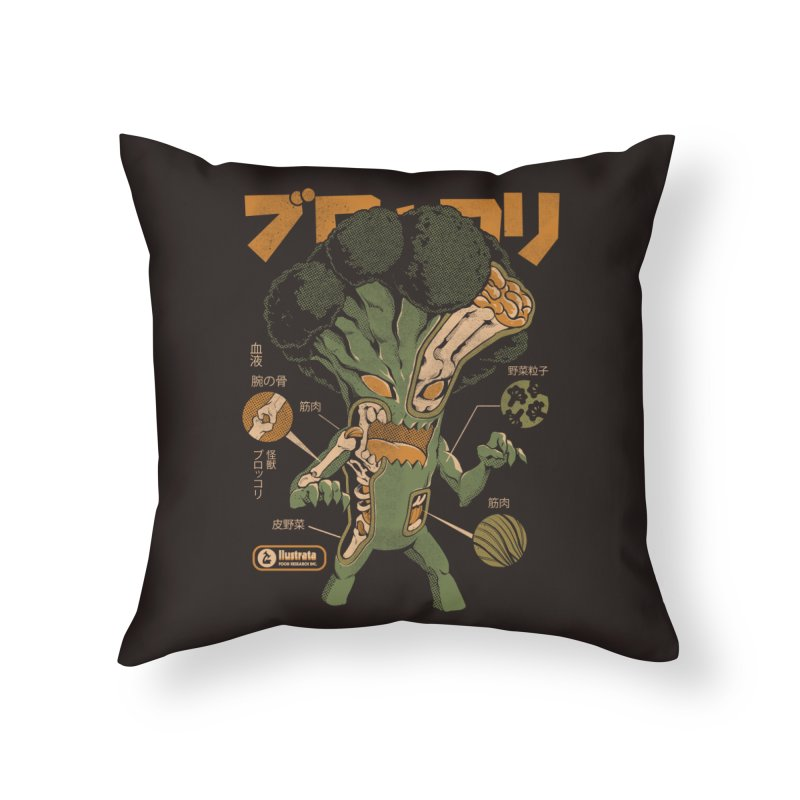 Broccozilla X-ray Home Throw Pillow by ilustrata