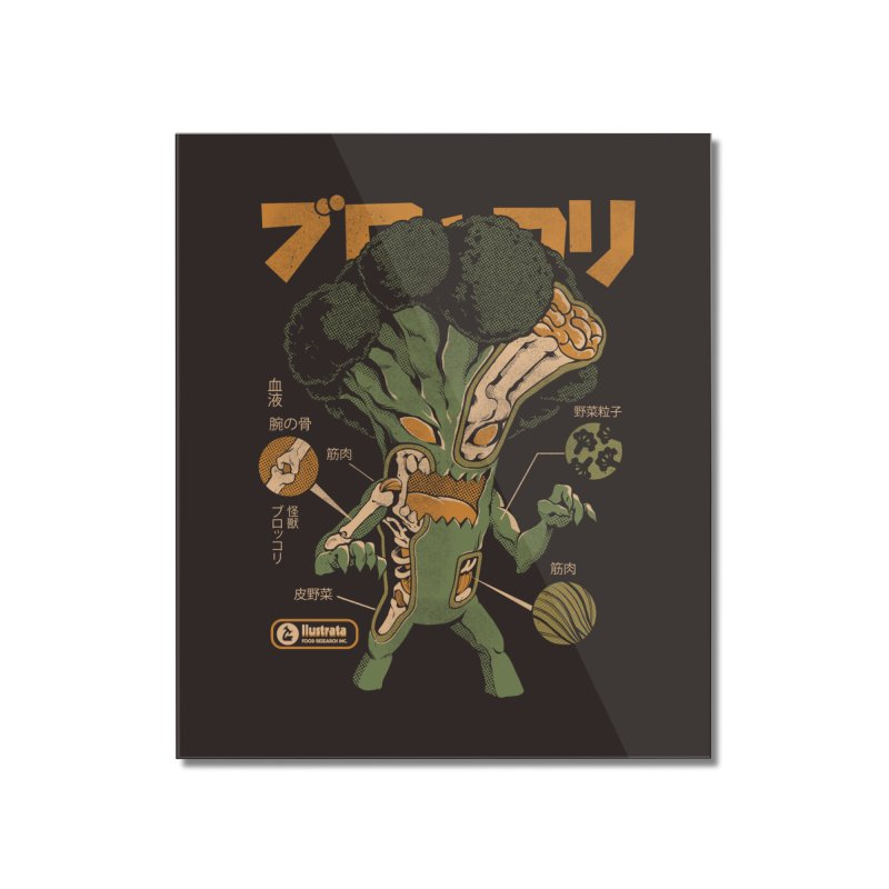 Broccozilla X-ray Home Mounted Acrylic Print by ilustrata