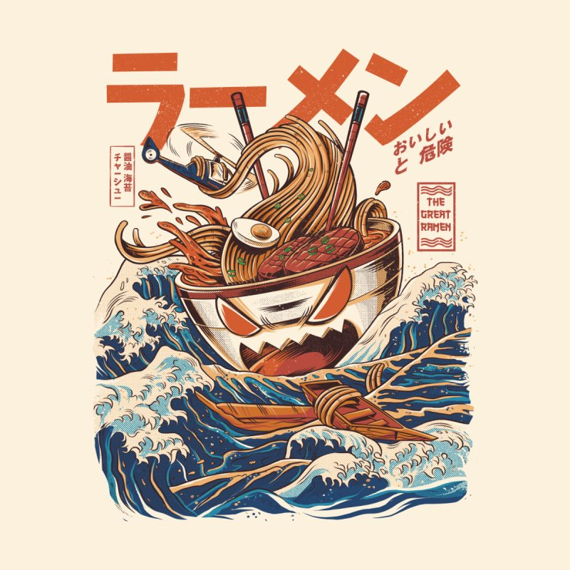 Great Ramen off Kanagawa Men's T-Shirt by ilustrata