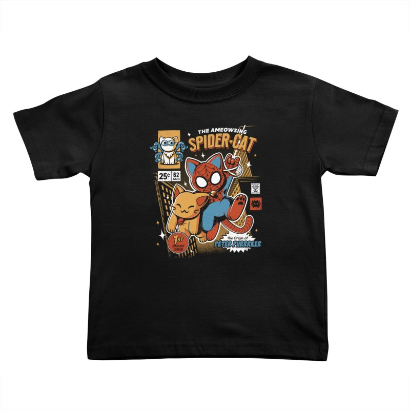 Spider Cat Kids Toddler T-Shirt by ilustrata